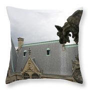 Gargoyles On Roof Of Biltmore Estate Throw Pillow