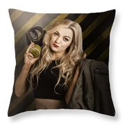 Gas Mask Pinup Girl In Nuclear Danger Zone Throw Pillow
