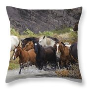 Gaucho With Herd Of Horses Throw Pillow