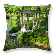 Gazebo By Lake Throw Pillow