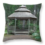 Gazebo In The Woods Throw Pillow