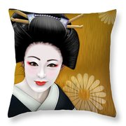 Geisha Girl Throw Pillow