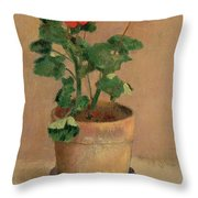 Geraniums In A Pot Throw Pillow