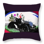 Geronimo At The Wheel 1904 Locomobile Model C Touring Car On The 101 Ranch In Oklahoma 1905 Throw Pillow