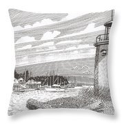 Lighthouse Gig Harbor Entrance Throw Pillow