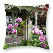 Gingerbread And Tree Peonies Throw Pillow