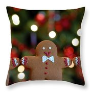 Gingerbread Men In A Line Throw Pillow