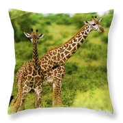 Mom Giraffe And Little Joey Throw Pillow