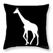 Giraffe In Black And White Throw Pillow