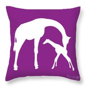 Giraffe In Purple And White Throw Pillow