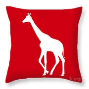 Giraffe In Red And White Throw Pillow