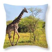 Giraffe On Savanna. Safari In Serengeti Throw Pillow