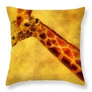Giraffe Painting Throw Pillow by Dan Sproul