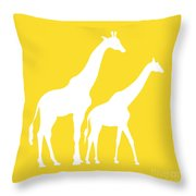 Giraffes In Golden And White Throw Pillow