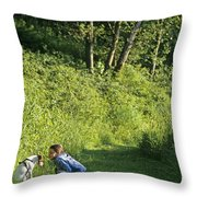 Girl And Dog On Trail Throw Pillow
