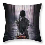 Girl In The Woods Throw Pillow