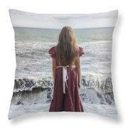 Girl On Beach Throw Pillow