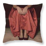 Girl On Black Sofa Throw Pillow
