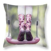Girl Swinging Throw Pillow