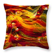 Glass Macro Abstract - Molten Fire Throw Pillow