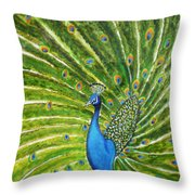 Glorious Peacock Throw Pillow