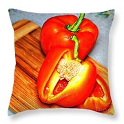 Glowing Peppers With Texture Throw Pillow