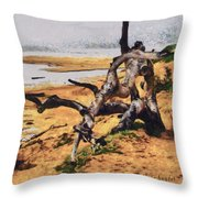 Gnarly Tree Throw Pillow by Barbara Snyder