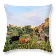 Goats In Fes In Morocco Throw Pillow