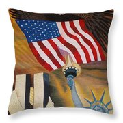 God Bless America Hand Embroidery Throw Pillow