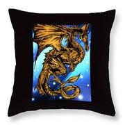 Gold Metal Dragon Throw Pillow