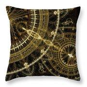 Golden Abstract Circle Fractal Throw Pillow