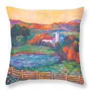 Golden Farm Scene Throw Pillow
