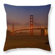 Golden Gate Bridge At Sunset Throw Pillow