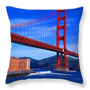 Golden Gate Bridge Panoramic View Throw Pillow
