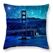 Golden Gate Bridge Night Throw Pillow