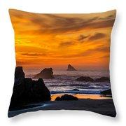 Golden Harris Beach Sunset - Oregon Throw Pillow