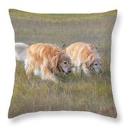 Golden Retriever Dogs On The Hunt Throw Pillow