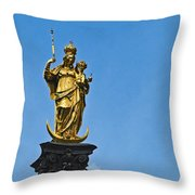 Golden Statue Of The Virgin Mary In Munich Germany Throw Pillow
