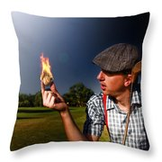 Golf Ball Flames Throw Pillow