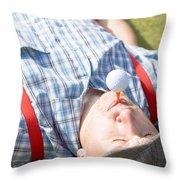 Golf Player Finding Inner Balance Throw Pillow
