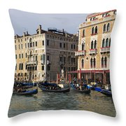 Gondolas In The Grand Canal Throw Pillow
