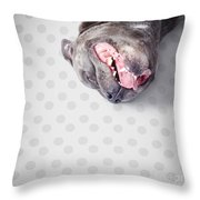 Goofy Blue Staffie Lying On His Back Throw Pillow