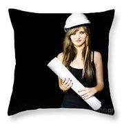 Graduate Engineer Holding Construction Design Plan Throw Pillow