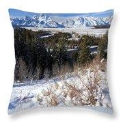 Grand Teton Landscape Throw Pillow