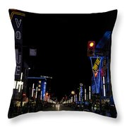 Granville Street At Night Vancouver Throw Pillow