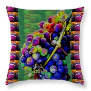 Grapes Fruit Pattern Health Background Designs  And Color Tones N Color Shades Available For Downloa Throw Pillow