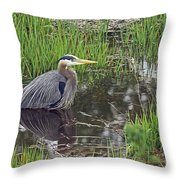 Great Blue Heron At Deboville Slough 2 Throw Pillow