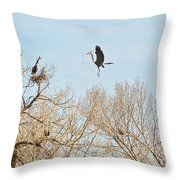Great Blue Heron Nest Building 3 Throw Pillow