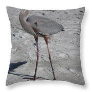 Great Blue Heron On The Beach Throw Pillow