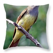 Great Crested Flycatcher With Captured Throw Pillow